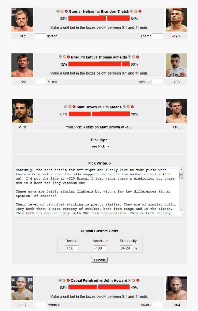 Making Straight Fight Picks on UFC